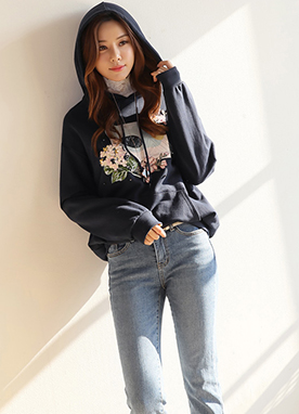Flower Embroidered Hoodie, Styleonme
