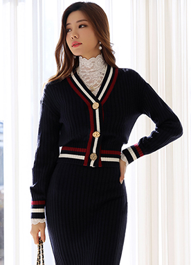Double Line Ribbed V-Neck Knit Cardigan, Styleonme