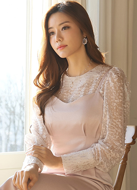 See-through Floral Puff Sleeve Blouse, Styleonme