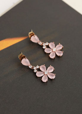 Pink Romantic Flower Earrings, Styleonme