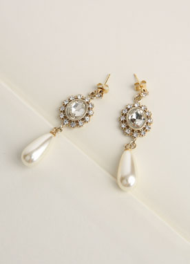 Cubic Pearl Teardrop Earrings, Styleonme