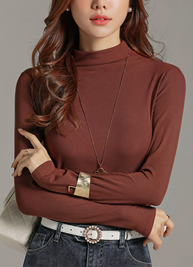 Soft Mock Neck Brushed Tee, Styleonme
