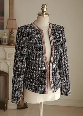 粗花呢珍珠紐扣夾克, Styleonme