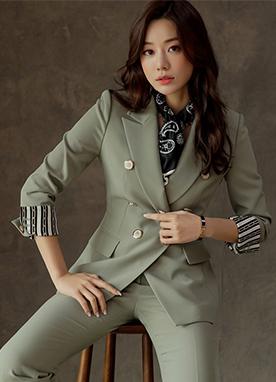經典雙排扣修身西裝外套, Styleonme