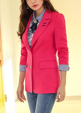 領口刺繡經典修身西裝外套, Styleonme