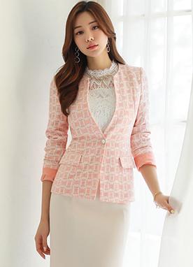 方形鉆石蕾絲配色短外套, Styleonme