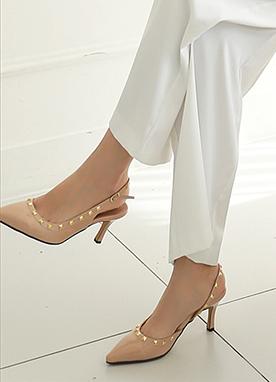 金色鉚釘高跟鞋, Styleonme