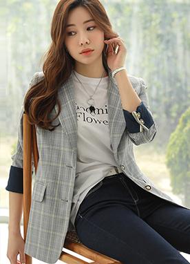 經典版型格紋配色外套, Styleonme