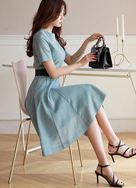 腰帶套裝褶皺短袖連衣裙, Styleonme