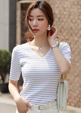 魅力細條紋針織T恤, Styleonme