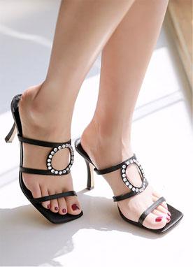 銀色圓形高跟鞋, Styleonme