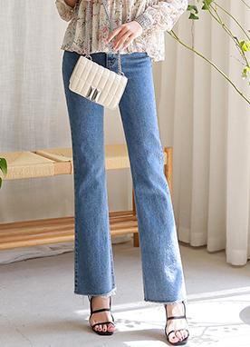 自然剪裁一字型直筒牛仔褲, Styleonme