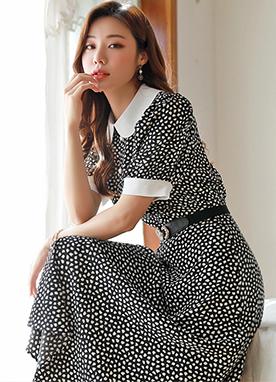 圓點配色褶皺長款連衣裙, Styleonme