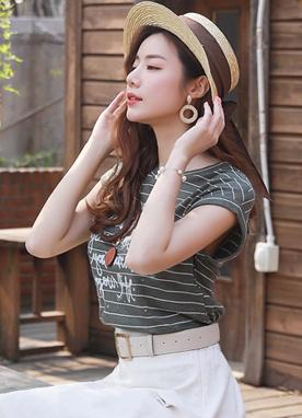 英式條紋帽袖字母T恤, Styleonme