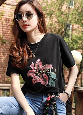 花朵英文刺繡印花T恤, Styleonme