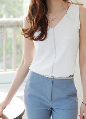 寶石線條V領無袖針織衫, Styleonme