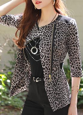 豹紋配色束腰拉鏈外套, Styleonme