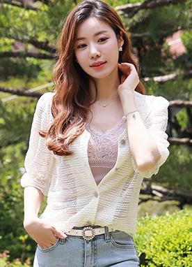 波點蕾絲V領透視開衫, Styleonme
