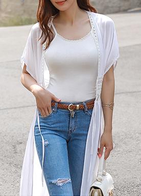 時尚輕便束腰長款開衫, Styleonme