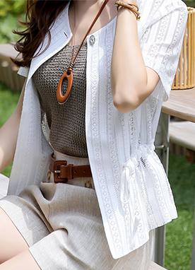 民族風蕾絲鏤空短袖開衫, Styleonme
