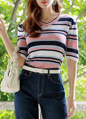 V領條紋五分袖針織T恤, Styleonme