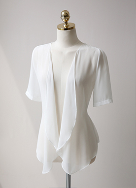 蕾絲配色雪紡荷葉邊開衫, Styleonme