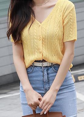 麻花紋V領短袖針織開衫, Styleonme