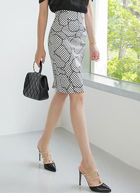 獨特圖案H型修身半身裙, Styleonme