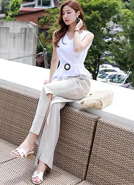 腰帶細節亞麻材質無袖襯衫, Styleonme