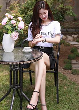 花瓣泡泡袖珍珠文字T恤, Styleonme