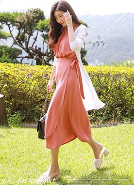 無袖上衣系帶長裙2件套裝, Styleonme