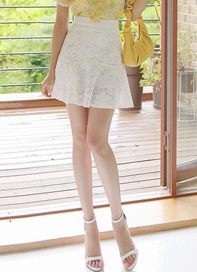 蕾絲點綴鏤空喇叭裙褲, Styleonme