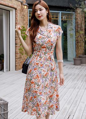 彩色印花V領腰帶套裝連衣裙, Styleonme