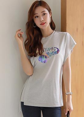獨特設計側系帶文字T恤, Styleonme