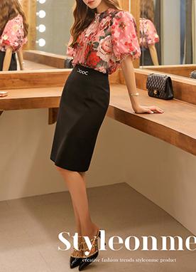 鏈式腰帶H型修身中長裙, Styleonme