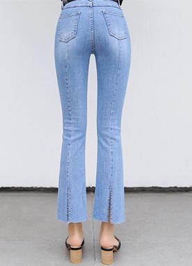 時尚細節修身喇叭牛仔褲, Styleonme