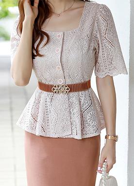 方領束腰鏤空版型蕾絲衫, Styleonme