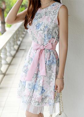 蝴蝶結腰帶套裝蕾絲連衣裙, Styleonme