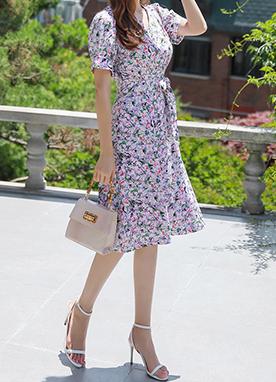 印花V領系帶連衣裙, Styleonme