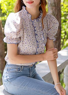 彩色雛菊褶皺荷葉邊襯衫, Styleonme