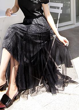 亮片透視蕾絲層疊式喇叭裙, Styleonme