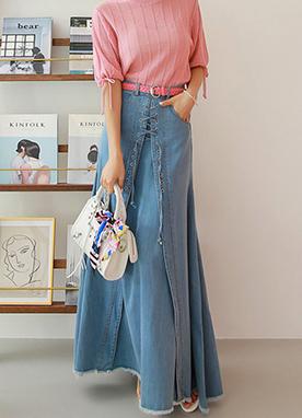 時尚花邊系帶長款牛仔裙, Styleonme