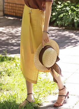 外口袋雙開叉亞麻H型長裙, Styleonme