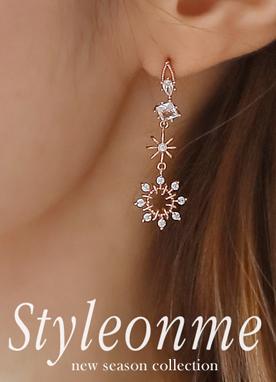 鑲鉆吊墜耳環, Styleonme
