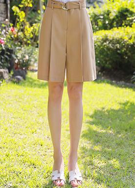 高腰寬褶皺五分短褲, Styleonme