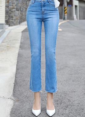 高腰顯瘦微喇修身牛仔褲, Styleonme