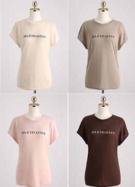棉55日常英文字母T恤, Styleonme