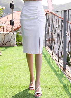 亞麻17開叉褶皺半身裙, Styleonme