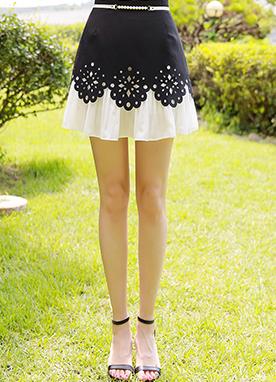 鏤空版型珍珠腰帶裙褲, Styleonme