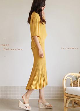 日常舒適針織半身裙套裝, Styleonme